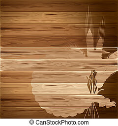 Wheat on wooden background - Spikelets of wheat on the...