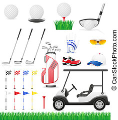 set golf icons illustration isolated on white background