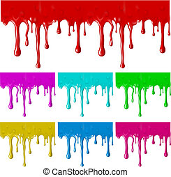 Border of paint drips of different colors. Mesh. Clipping...