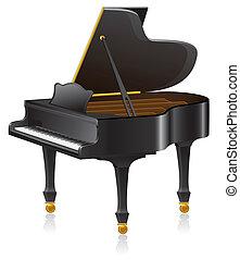 piano illustration isolated on white background