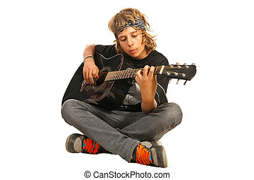 Rocker teen with accounting guitar - Rocker teen with...