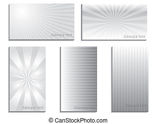Gray business card set of five with stripes