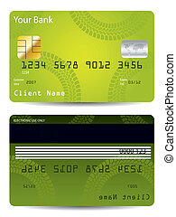 Green credit card with tire track