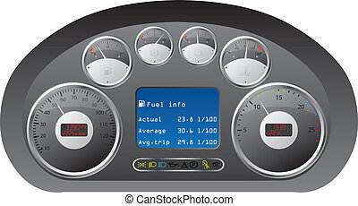 Dashboard of a truck - Truck dashboard design with gauges