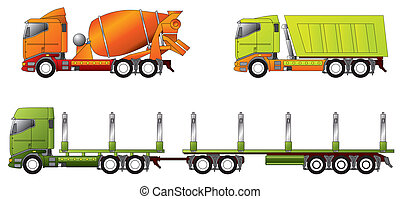 Construction and timber truck designs in different colors
