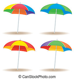 Beach umbrella variety - A group of beach umbrellas in...