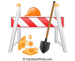 objects for road works illustration isolated on white...