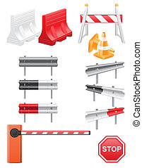set icons road barrier illustration isolated on white...