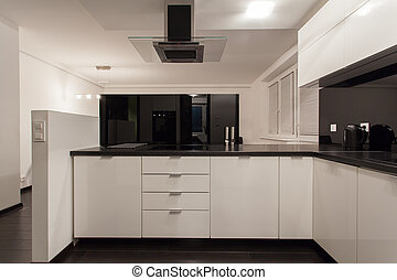 Minimalist apartment - small kitchen with view at living...