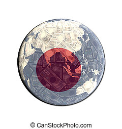 Japanese flag globe with currency illustration