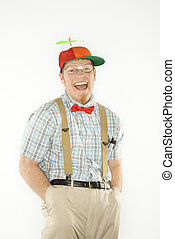 Man dressed nerdy. - Caucasian young man dressed like nerd...