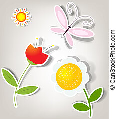 set of vector stickers - vector set of icons on the nature...