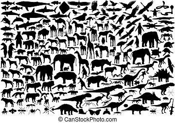 Animal outlines - Diverse set of editable vector animal...