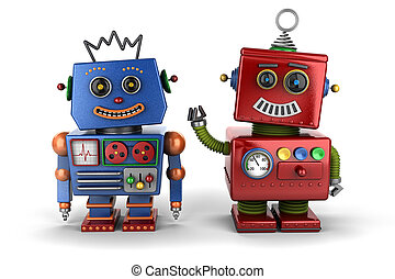 Toy robot buddies - Two happy vintage toy robot buddies over...