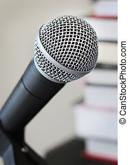 Audio books narration recording vocal microphone against...