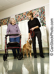 Woman in assisted living - Elderly Caucasian woman using...