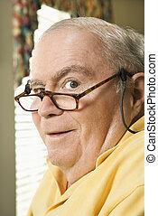 Mature man portrait - Senior Caucasian man with bifocals