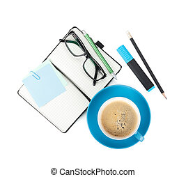 Coffee cup and office supplies View from above Isolated on...