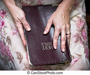 woman holding a Bible in her lap - woman lovingly holding a...