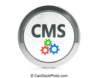 Black CMS icon with highlight - Black CMS emblem isolated on...