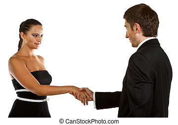 business partners shaking hands - Smiling business partners...