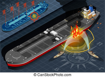Isometric Oil Tanker Fire Disaster in Front View - Detailed...