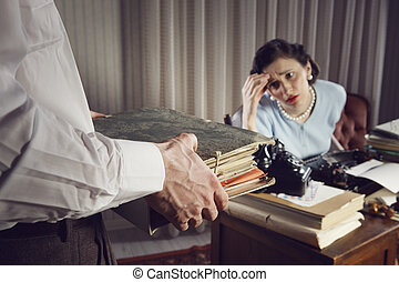Overworked business woman - Stressed businesswoman with a...