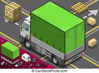 Isometric Pick Up Truck with Tarpaulin in Rear View -...