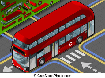 Isometric Double Decker Bus in Front View - Detailed...