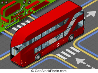 Isometric Double Decker Bus in Rear View - Detailed...