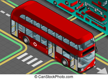 Isometric Double Decker Bus with Open Doors - Detailed...