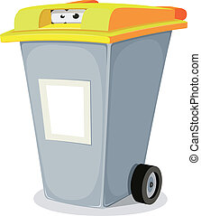 Eyes Inside Trash Bin - Illustration of a funny cartoon...