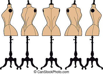 vintage fashion mannequins, vector - set of vintage fashion...