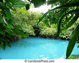 Incredible blue lagoon in Costa Rica