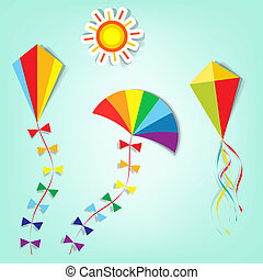 vector kite - a set of design elements to advertise travel...