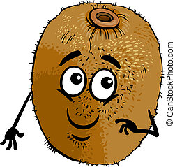 funny kiwi fruit cartoon illustration - Cartoon Illustration...