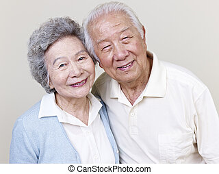 senior asian couple - portrait of a senior asian couple.