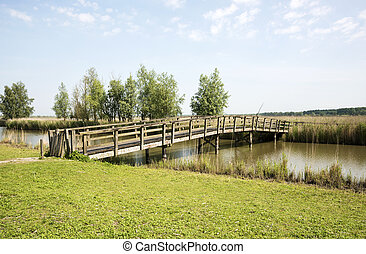 nature park the oostvaardersplassen in holland - bridge and...