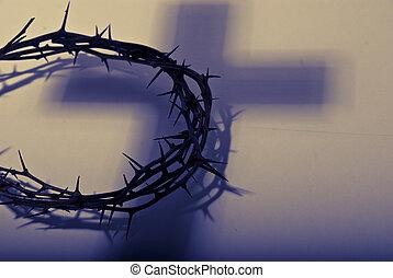 coroa, espinhos, sombra, crucifixos
