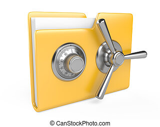 Yellow folder and combination Lock - Data security concept....