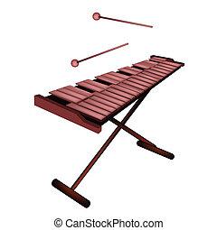 Marimba, xilofone, isolado, fundo, branca, ou