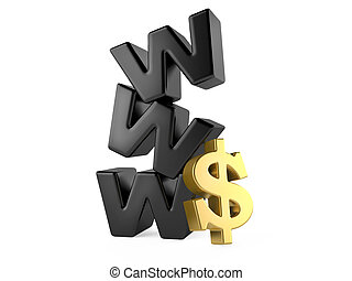 www and dollar sign, money online concept. 3d illustration...