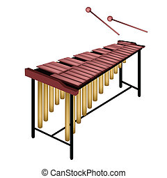 A Musical Marimba Isolated on White Background - Music...