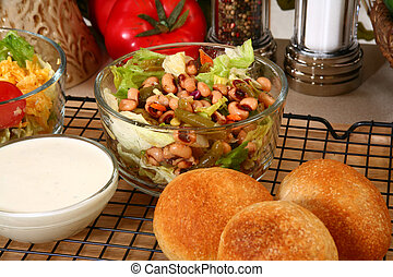 Peas and Bean Salad - Lettuce, black-eyed pea, and green...