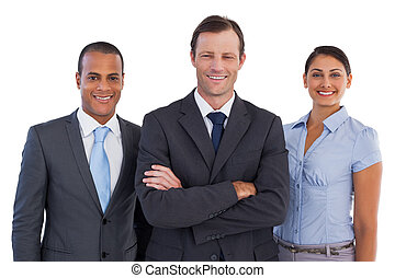 Group of smiling business people standing together