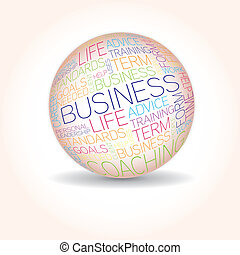 Business concept related words in sphere tag cloud isolated...