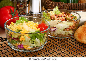 Lettuce and Bean Salads - Lettuce and black-eyed pea salads,...