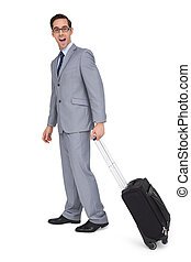 Businessman with a trolley being su