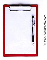 夾子, 板, 報紙, 被隔离, 白色, 背景