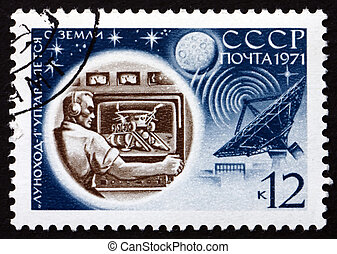 Franqueo, estampilla, Rusia, 1971, suelo, control, luna, 17